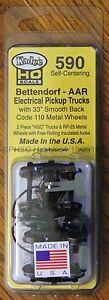 "HO Scale - KADEE 590 BETTENDORF AAR Electrical Pickup Caboose Trucks 33"" Wheels"