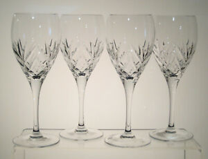 """JULIETTE ROYAL DOULTON CRYSTAL Red Wine Glasses 7 3/4"""", Set of FOUR, Imperfect"""