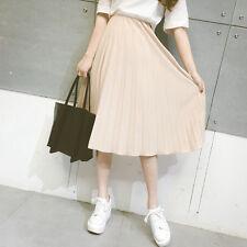 Ladies New Korean Style Fashion Pleated Skirt Elastic Waist Dress Chiffon Skirt