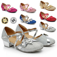 Girls Kids Childrens Mary Jane Glitter Low Heel Party Wedding Sandals Dress Shoe