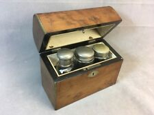 Antique 19th Century Burl Wood Dome Top Dresser Box w/ Bottles