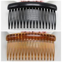10 Black Coffee Plastic 16-Teeth Hair Clips Side Combs Pin Barrettes 89mm