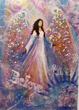 New ListingHand Glittered Aceo Angel Miniature Print Spiritual Inspirational Religious Cca