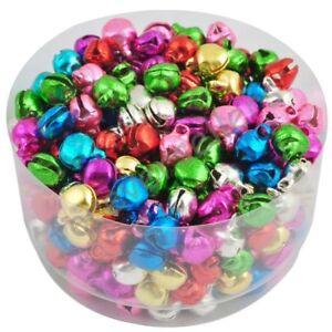 100pcs Colorful Iron Beads Jingle Bells Pendants Jewelry Christmas Decor 8x6mm