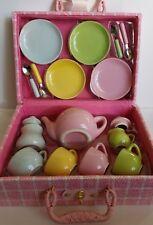 Ceramic Childs Tea Set Pink BasketTea Pot Sugar Creamer 4 Cups Plates Spoons