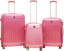 Pink Rose 3 Piece Spinner Hardside Luggage Set Rolling Expandable Lightweight