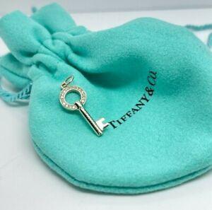 Tiffany & Co Modern Open Round Key Diamond Pendant Necklace 18k White Gold