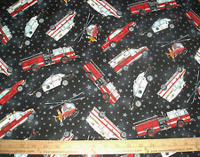Cotton Fabric Emergency Vehicles with stars on the BLACK  background BTY