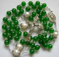 Green Jade Beads & AAA10MM Real Pearl stations of the cross rosary NECKLACE