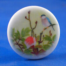 """1"""" Porcelain China Button - Oriental Bird And Orchid"""