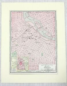 1901 Antique Map of Minneapolis Street Map Plan Routes Minnesota United States
