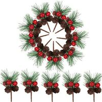 24 Pieces Christmas Pine Picks Small Fake Berries Pinecones Artificial PineV3F2