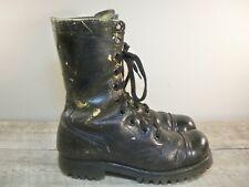 Vtg 60's Vietnam Black Leather Combat Cap Toe Punk Soldier Boots Men's Size 7.5