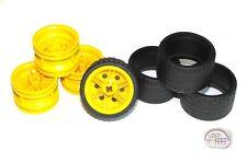 LEGO Technic - Tire x 4 w/ Yellow Rims - 37 x 22 ZR - New - (Truck, Off-road)