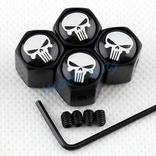 White Punisher Air Valve Cap Dust Hat Anti-theft Cover Accessories Black Parts