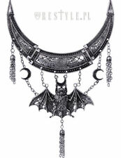 Restyle Oriental Bat Silver Necklace Crescent Tassels Jewelry Occult Goth Moon