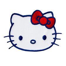 Hello Kitty - Kopf weiß/blau - Aufnäher Aufbügler Applikation Patch - Neu #9415