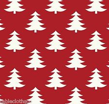 """1.8m/72"""" oilcloth pvc wipe clean xmas trees red white wipe-able   TABLE CLOTH CO"""