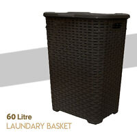 Large Laundry Bin Basket Washing Clothes Toys Accessory Storage Hamper 60L Brown