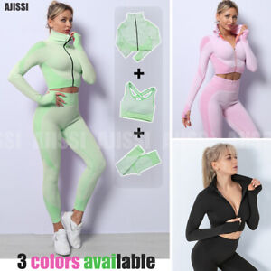 New Yoga Set Women Gym Fitness Workout Sport Suit Leggings Top Bra 3 Pieces