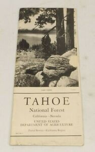 1937 TAHOE NATIONAL FOREST- Map by U.S. Dept of Agriculture California Nevada