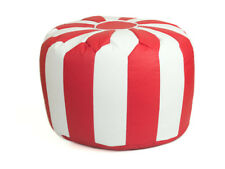 Red & White Faux Leather Moroccan Pouffe Bean Bag Footstool - Filled