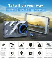 "Dual Lens 4"" Car DVR 1080P FHD Dash Cam Video Recorder Camera Night Vision A8B2"