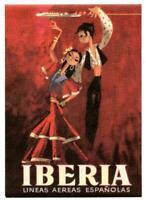 Vintage Iberia Airways Spain Airline Luggage Label Spanish Dancers