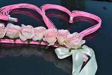 wedding car decoration,ribbon, bows, prom limousine decoration, HEARTS pink/ecru