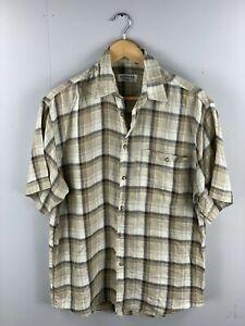 Jaeger Men's Short Sleeve Shirt -Made in Italy - Linen -Size Medium -Brown Check