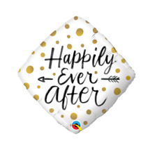 Party Supplies Engagement Wedding Happily Ever After Gold Dots 45cm Foil Balloon