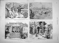 Old Antique Print 1894 Manners Customs Police Japan Russian Bluejackets 19th