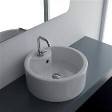 Lavabo Da Appoggio Ceramica Bianco Tondo Lavandino Lavello 46x46x16 Cm