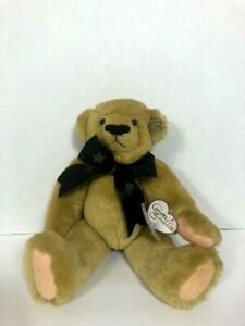 """Collectible Teddy Bear Co. ANETTE FUNICELLO Tags attached 13"""" Black Star Tie EUC"""