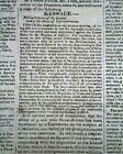 President JAMES MADISON State of the Union Address to the Nation 1815 Newspaper