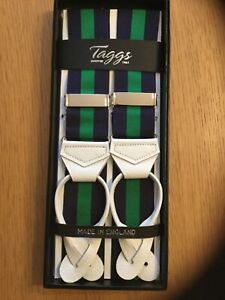 TAGGS PREMIUM NAVY/GREEN RIGID STRIPE LEATHER END BRACES
