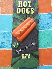 Hot Dogs Wall Plaque--Try Chili Dogs, 25¢--3D Green Resin--GUC