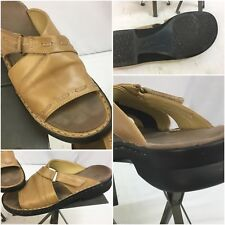Clark's Sandals Sz 10 Beige Leather Strap Made In Brazil Mint YGI J7