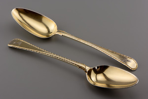 Excellent PAIR Sterling Silver GILT 1766 Transitional FEATHER EDGE Table Spoons