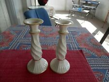 """New ListingLenox Porcelain Richmond Candle Holders Ivory with 24-K Gold Trim 8 1/4"""" Tall"""