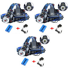 3PC 90000LM Camping Headlight T6 Tactical LED Headlamp Rechargeable+Batt+Charger