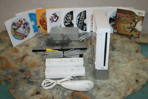 Nintendo Wii Console Complete Bundle WITH 3 CONTROLLERS & 10 GAMES