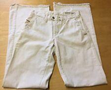 NEW Women's Diesel Flarelegg 30W 35L Flared Cream Cotton Designer Trousers