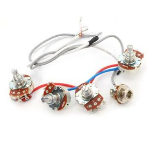 1Set Wiring Harness 2v2t Jack 500k Pots for Replacement LP Electric Guitar❀