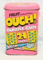 Vintage GENUINE Ouch! Band Aid Bandage Fruit Bubble Gum Tin EMPTY! Hinged Top