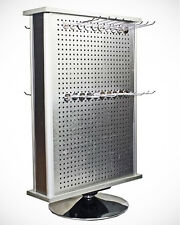 Aluminum Display Rack Spinner Accessory 2 Sided Jewelry Countertop Rack w/Pegs