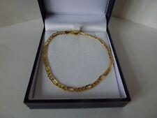 NEW 9ct 9carat Yellow & White Gold Figaro Bracelet, 7 1/2'', 2.6 grams