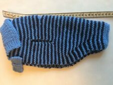 Beautiful Hand Knitted Blue Stripe Dog Coat With Bow Tie, New, For Small Dog