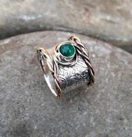Green Onyx Solid 925 Sterling Silver Band Meditation Statement Ring Size M417