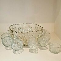 VINTAGE 26 PIECE WILLIAMSPORT CRYSTAL GLASS PUNCH BOWL SET #8866 HAZELWARE